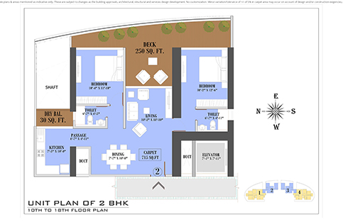UNIT PLAN 2BHK 10TH TO 18TH FLOOR PLAN